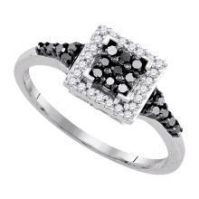 Fine Silver Jewelry 0.30 ctw White Diamond & Black Diamond Ladies Ring - GD#90396