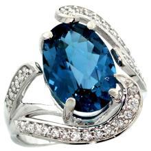 Natural 6.22 ctw london-blue-topaz & Diamond Engagement Ring 14K White Gold - SC#R308101W05