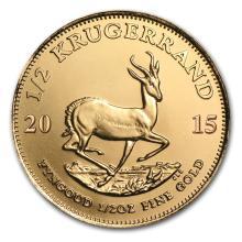 One 2015 South Africa 1/2 oz Gold Krugerrand - WJA84898