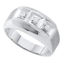 10K White Gold Jewelry 0.09 ctw Diamond Men's Ring - GD#26399