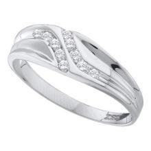 10K White Gold Jewelry 0.12 ctw Diamond Men's Ring - GD#42417
