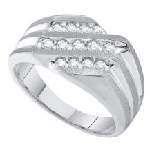 10K White Gold Jewelry 0.50 ctw Diamond Men's Ring - GD#23895