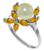 Genuine 2.65 ctw Pearl & Citrine Ring Jewelry 14KT White Gold - GG#3490