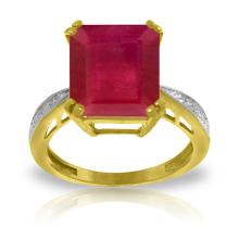 Genuine 7.27 ctw Ruby & Diamond Ring Jewelry 14KT Yellow Gold - GG#5119