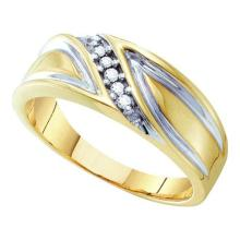 10K Yellow Gold Jewelry 0.10 ctw Diamond Men's Ring - GD#10173