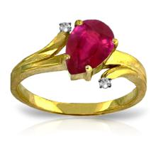Genuine 1.51 ctw Ruby & Diamond Ring Jewelry 14KT Yellow Gold - GG#4371