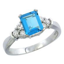 Natural 1.48 ctw swiss-blue-topaz & Diamond Engagement Ring 14K White Gold - SC#CW404169