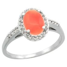Natural 1.25 ctw Coral & Diamond Engagement Ring 10K White Gold - SC#CW945137