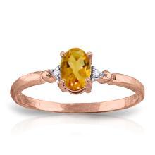 Genuine 0.46 ctw Citrine & Diamond Ring Jewelry 14KT Rose Gold - GG#1279