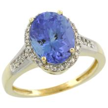 Natural 2.49 ctw Tanzanite & Diamond Engagement Ring 14K Yellow Gold - SC#CY448109