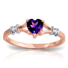 Genuine 0.47 ctw Amethyst & Diamond Ring Jewelry 14KT Rose Gold - GG#1195