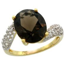 Natural 6.45 ctw smoky-topaz & Diamond Engagement Ring 14K Yellow Gold - SC#R293431Y07