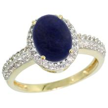 Natural 1.95 ctw Lapis & Diamond Engagement Ring 14K Yellow Gold - SC#CY446139
