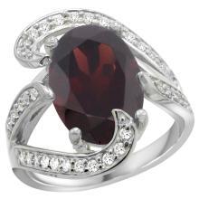 Natural 7.24 ctw garnet & Diamond Engagement Ring 14K White Gold - SC#R308101W10