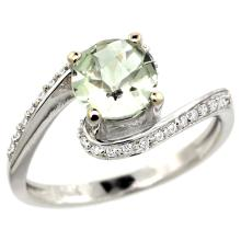 Natural 0.99 ctw green-amethyst & Diamond Engagement Ring 14K White Gold - SC#D312723W02