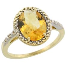 Natural 2.42 ctw Citrine & Diamond Engagement Ring 10K Yellow Gold - SC#CY909111