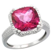 Natural 5.96 ctw Pink-topaz & Diamond Engagement Ring 14K White Gold - SC#CW406145