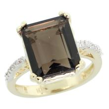 Natural 5.48 ctw Smoky-topaz & Diamond Engagement Ring 10K Yellow Gold - SC#CY907141