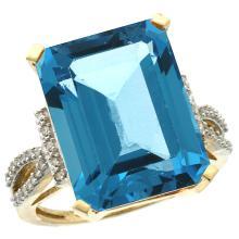 Natural 12.14 ctw Swiss-blue-topaz & Diamond Engagement Ring 14K Yellow Gold - SC#CY404134