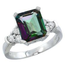 Natural 2.86 ctw mystic-topaz & Diamond Engagement Ring 10K White Gold - SC#CW908167