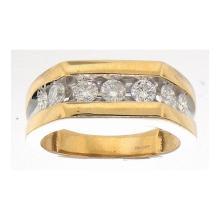14K Yellow Gold Jewelry 1.0 ctw Diamond Men's Ring - GD#14215