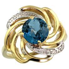Natural 2.25 ctw london-blue-topaz & Diamond Engagement Ring 14K Yellow Gold - SC#R297241Y05