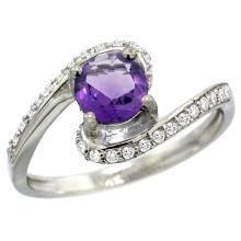 Natural 0.99 ctw amethyst & Diamond Engagement Ring 10K White Gold - SC#10D312723W01