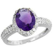 Natural 1.91 ctw Amethyst & Diamond Engagement Ring 10K White Gold - SC#CW901139