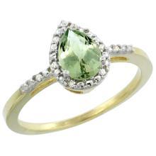 Natural 1.53 ctw green-amethyst & Diamond Engagement Ring 14K Yellow Gold - SC#CY402152