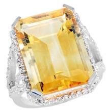 Natural 13.72 ctw Citrine & Diamond Engagement Ring 14K White Gold - SC#CW409140