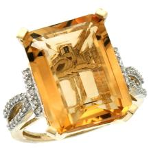 Natural 12.14 ctw Citrine & Diamond Engagement Ring 14K Yellow Gold - SC#CY409134