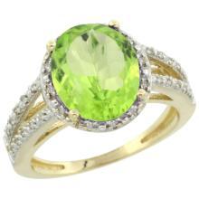 Natural 3.86 ctw Peridot & Diamond Engagement Ring 14K Yellow Gold - SC#CY411106