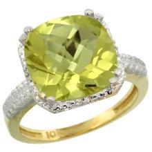 Natural 5.96 ctw Lemon-quartz & Diamond Engagement Ring 14K Yellow Gold - SC#CY427145