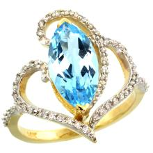 Natural 3.33 ctw Swiss-blue-topaz & Diamond Engagement Ring 14K Yellow Gold - SC#R275571Y04