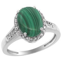 Natural 2.49 ctw Malachite & Diamond Engagement Ring 10K White Gold - SC#CW947109
