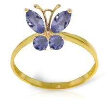 Genuine 0.6 ctw Tanzanite Ring Jewelry 14KT Yellow Gold - GG#2350
