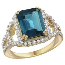 Natural 3.08 ctw london-blue-topaz & Diamond Engagement Ring 14K Yellow Gold - SC#R292071Y05