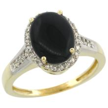 Natural 2.49 ctw Onyx & Diamond Engagement Ring 10K Yellow Gold - SC#CY917109