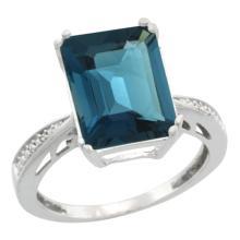 Natural 5.42 ctw London-blue-topaz & Diamond Engagement Ring 10K White Gold - SC#CW905149