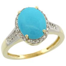 Natural 2.49 ctw Turquoise & Diamond Engagement Ring 10K Yellow Gold - SC#CY918109