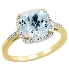 Natural 3.92 ctw Aquamarine & Diamond Engagement Ring 14K Yellow Gold - SC#CY412136