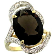 Natural 11.23 ctw smoky-topaz & Diamond Engagement Ring 14K Yellow Gold - SC#R309971Y07