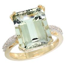 Natural 5.48 ctw amethyst & Diamond Engagement Ring 10K Yellow Gold - SC#CY902141