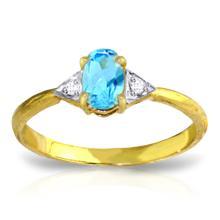 Genuine 0.46 ctw Blue Topaz & Diamond Ring Jewelry 14KT Yellow Gold - GG#3065