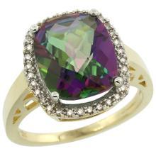 Natural 5.28 ctw Mystic-topaz & Diamond Engagement Ring 14K Yellow Gold - SC#CY408124