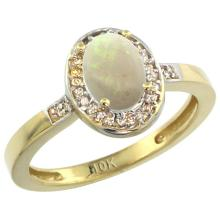 Natural 0.54 ctw Opal & Diamond Engagement Ring 14K Yellow Gold - SC#CY420150