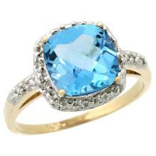 Natural 3.92 ctw Swiss-blue-topaz & Diamond Engagement Ring 14K Yellow Gold - SC#CY404136