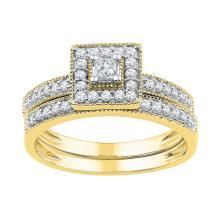 10K Yellow Gold Jewelry 0.50 ctw Diamond Bridal Ring Set - GD#97188 - REF#U39K7