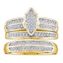 10K Yellow Gold Jewelry 0.28 ctw Diamond Trio Ring Set - GD#42001 - REF#V30T1