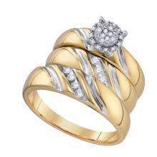 10K Yellow Gold Jewelry 0.19 ctw Diamond Trio Ring Set - GD#75810 - REF#F39X7